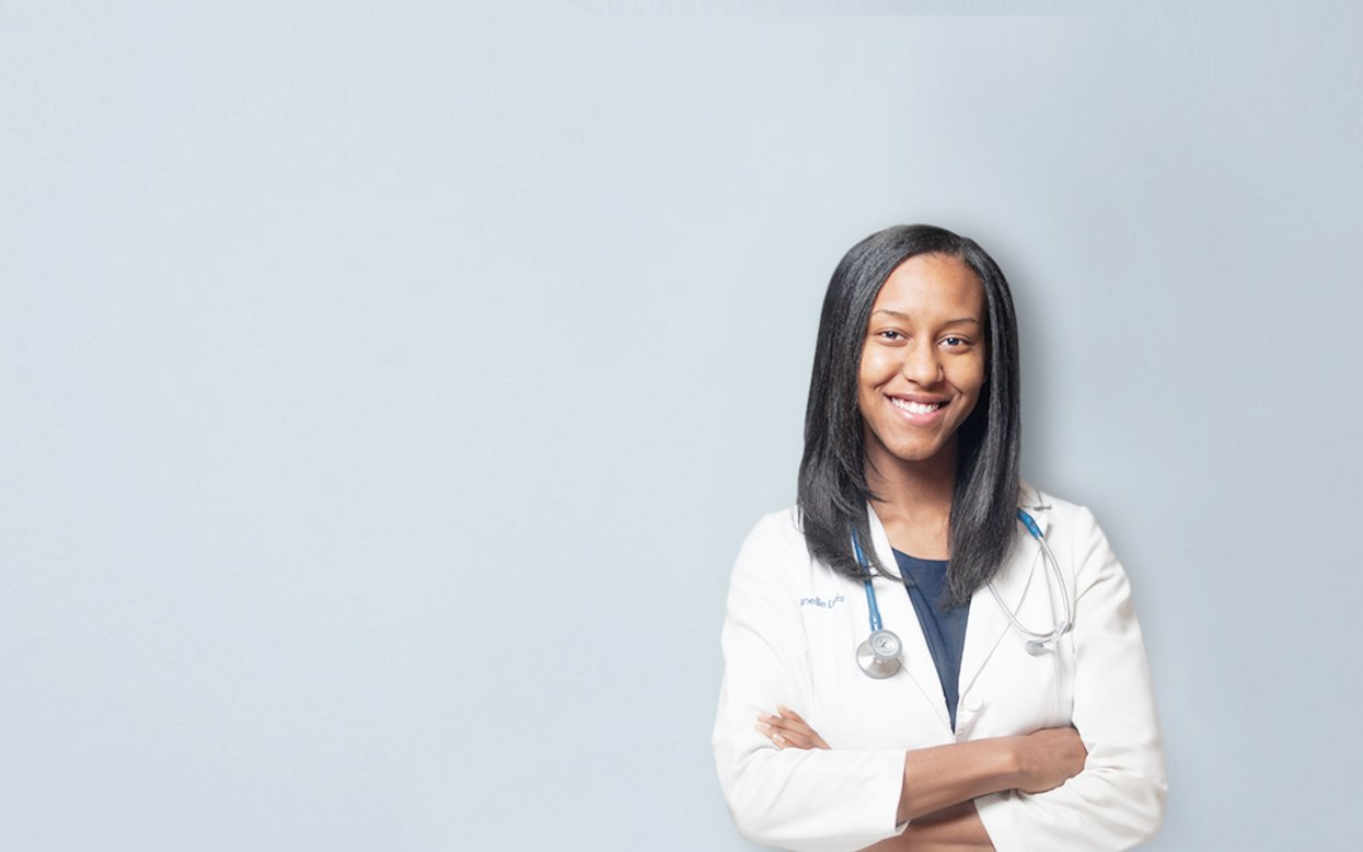 Photo of Dr. Janelle Louis, ND against a Blue Background 4